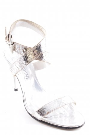 Strapped High-Heeled Sandals silver-colored metallic look