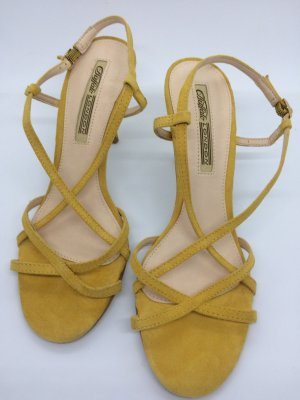 Buffalo Strapped High-Heeled Sandals dark yellow suede