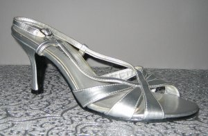 Strapped High-Heeled Sandals silver-colored imitation leather