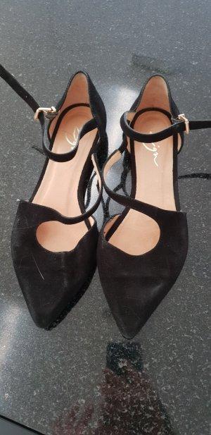 Zign Ballerines à lacets noir cuir