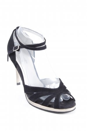 Strapped pumps black-silver-colored elegant