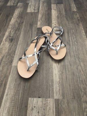Onygo Sandalen met bandjes zilver-licht beige