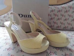Dune Strapped High-Heeled Sandals pale yellow leather
