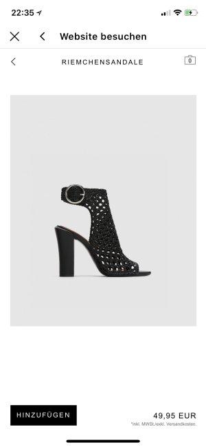 Zara Sandalias de tacón de tiras negro