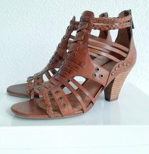 5th Avenue Strapped High-Heeled Sandals brown leather