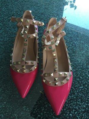 Riemenballerinas Valentino Style pink mit Nieten 38 Neu!!!