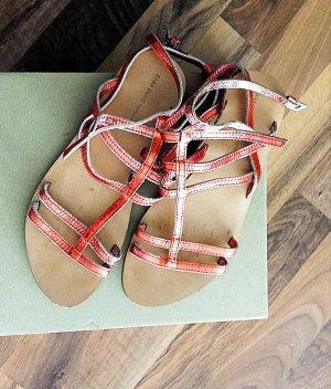 Zara Strapped High-Heeled Sandals neon orange imitation leather