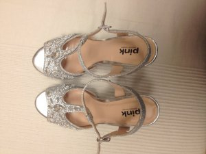 Pink Strapped High-Heeled Sandals silver-colored synthetic material