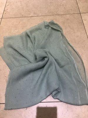 Bufanda de seda color plata-verde grisáceo