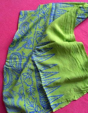 Serviette de plage vert prairie-bleu coton