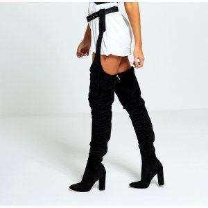 Rihanna Belted Thigh High Overknee Stiefel 37 Blogger Statement