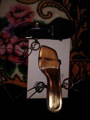 Sandales à talons hauts et lanière bronze-doré cuir