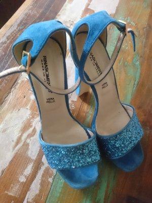 Rina Scimento Sandaletten High Heels Gr. 39 Blau Glitzer