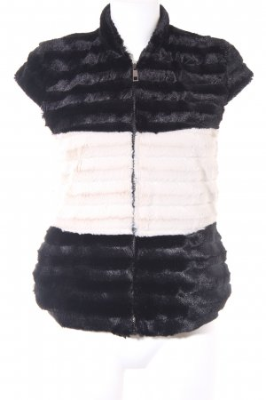 Rinascimento Kunstfellweste schwarz-wollweiß Streifenmuster Casual-Look