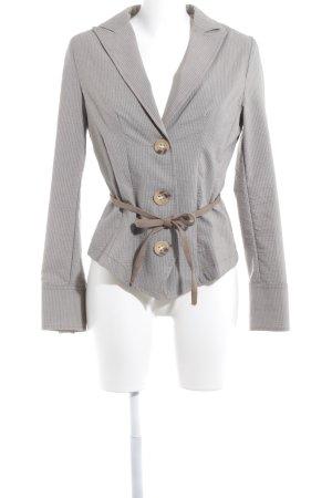 Rinascimento Kurz-Blazer weiß-graubraun Nadelstreifen Gypsy-Look