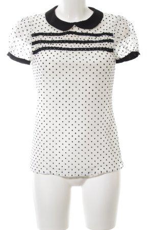 Rinascimento Kurzarm-Bluse weiß-schwarz Punktemuster Business-Look