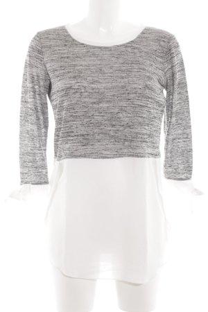 Rinascimento Langarm-Bluse weiß-schwarz meliert Casual-Look