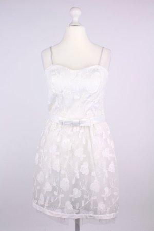 Rinascimento Minikleid mit Spagettiträgern, Schleifchengürtel und Blumenmuster creme Größe L