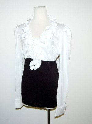 Rinascimento Chemisier body noir-blanc coton