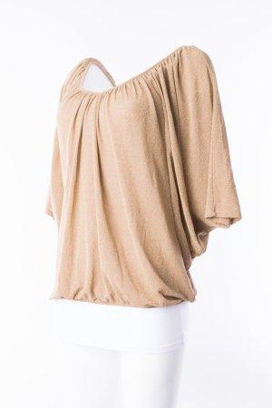 RINASCIMENTO - Oversized Shirt Glitzer Gold-Beige