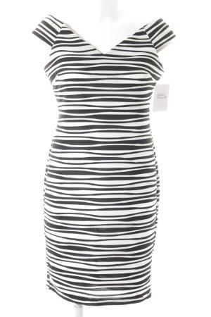 Rinascimento schulterfreies Kleid schwarz-weiß Streifenmuster Elegant
