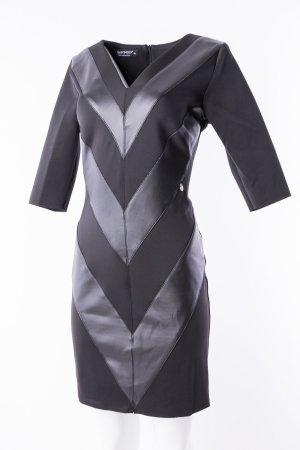 RINASCIMENTO - Schwarzes Kleid mit Ledereinsätzen