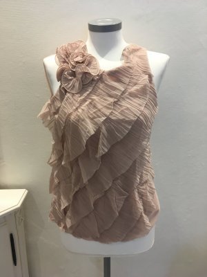 Rinascimento Shirt Top rose rosa nude Rüschen 36 S