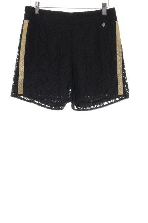 Rinascimento Shorts schwarz-goldfarben florales Muster Spitzen-Optik