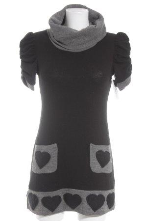 Rinascimento Strickkleid schwarz-grau Herzmuster Casual-Look