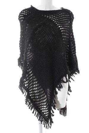 Rinascimento Poncho in maglia nero stile casual