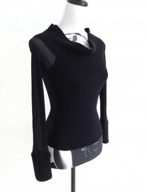 RINASCIMENTO Top Pullover Shirt Kragen transparent black – XS
