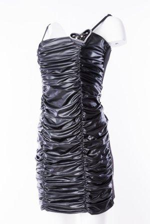 RINASCIMENTO - Trägerkleid mit Raffungen in Lederoptik Schwarz