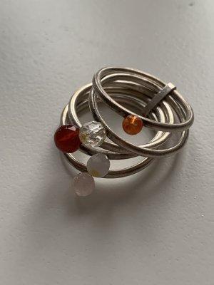 Ring, 925 Silber mit Perlen, Sim-Schmuck, neuwertig, Gr. 54, Mehrfachring, NP 79€