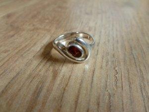 Ring 925 Silber Steinchen braun 17,25mm 54