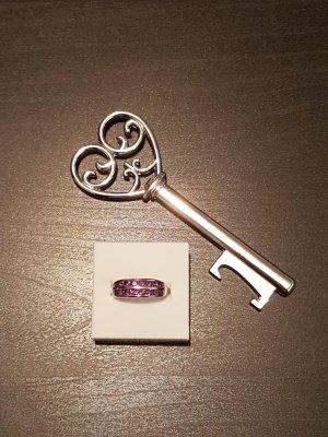 Ring 925er Silber Gr. 16 mit lila Steinen