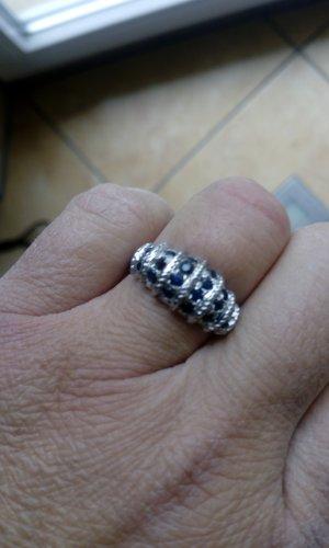 Anillo de plata color plata-azul plata verdadero