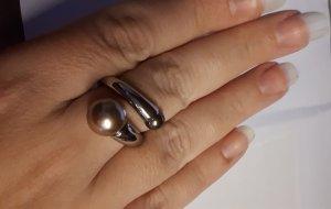 Ring ähnlich Misaki silber Perlen Orchidee creme braun