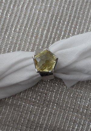 Ring aus 925 Silber Gr. 55 mit Lemon Topaz facettier Pentagon Schliff