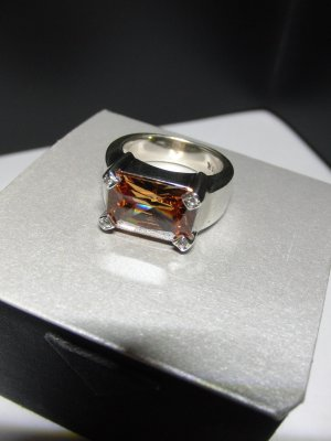Anello d'argento argento-albicocca Argento