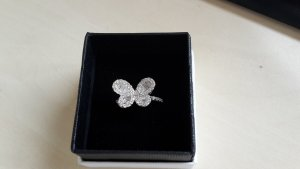 Ring aus 925er Sterlingsilber Schmetterlingform mit Zirkonia