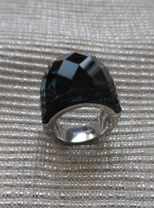 Ring zilver-donkergroen Edelstaal