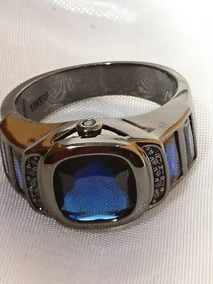 Statement Ring blue-black stainless steel