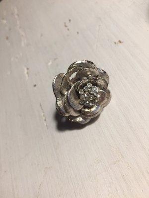 Ring Blume Cocktailring Strass Glitzer-Steine