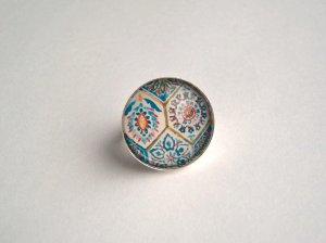 """Ring """"Blumenmosaik"""" Cabochon Silberfarben"""