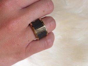 Ring Calvin Klein Gr. 50-52 Roségold, schwarzes Leder TOP ZUSTAND