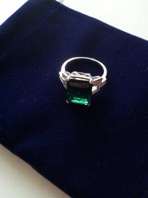 Ring Damenring 925 Silber, Smaragd, Zirkonia