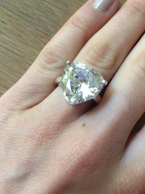 Ring Echtsilber Sterling Silber Zirkonia-Stein Herz Solitaire funkelnd