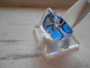 Ring Glas Blau Silber Gr. 56 / 18mm