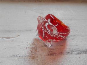 Ring Glas Glasring Rot Silber Gr. 18mm