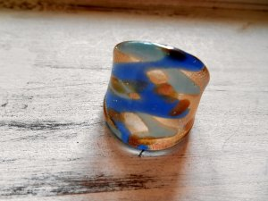 RIng Glas Pastellblau Blau Gr. 60 / 19mm